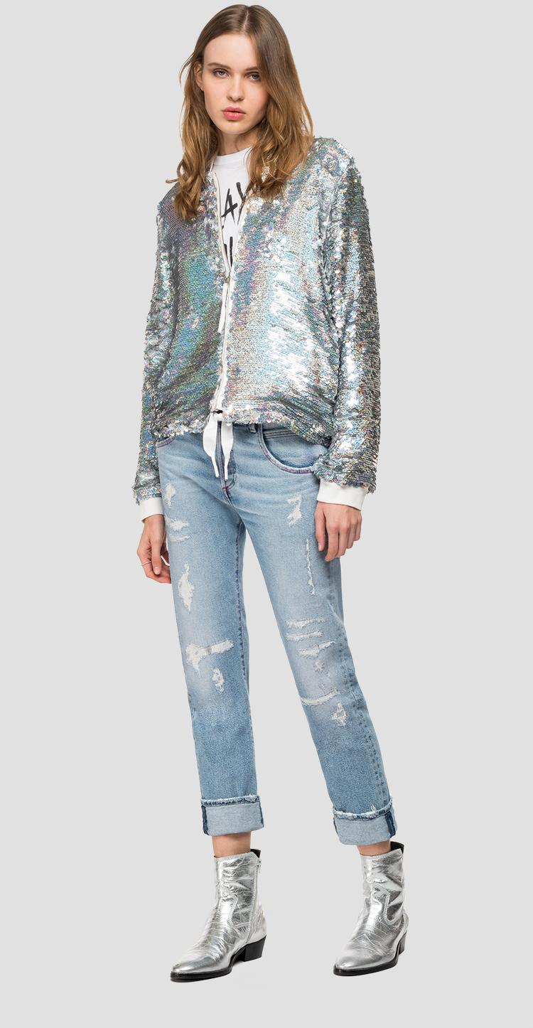 Bomber jacket with hologram sequins - Replay