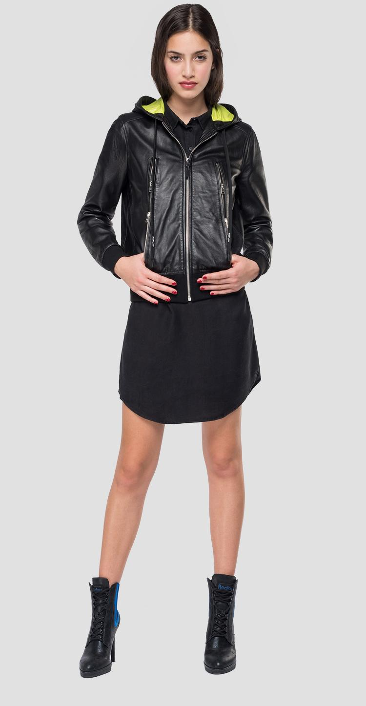 Leather jacket with hood - Replay