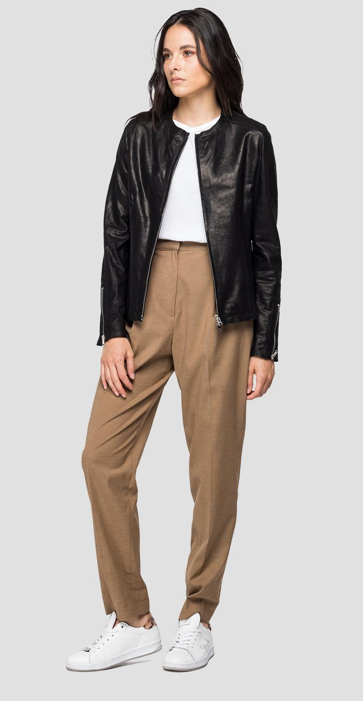 Leather jacket with waxed effect - Replay