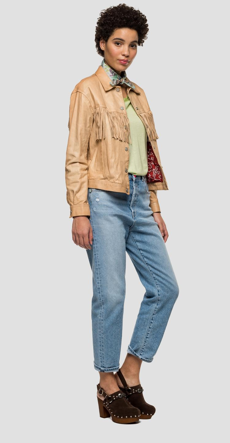 Leather jacket with fringes - Replay