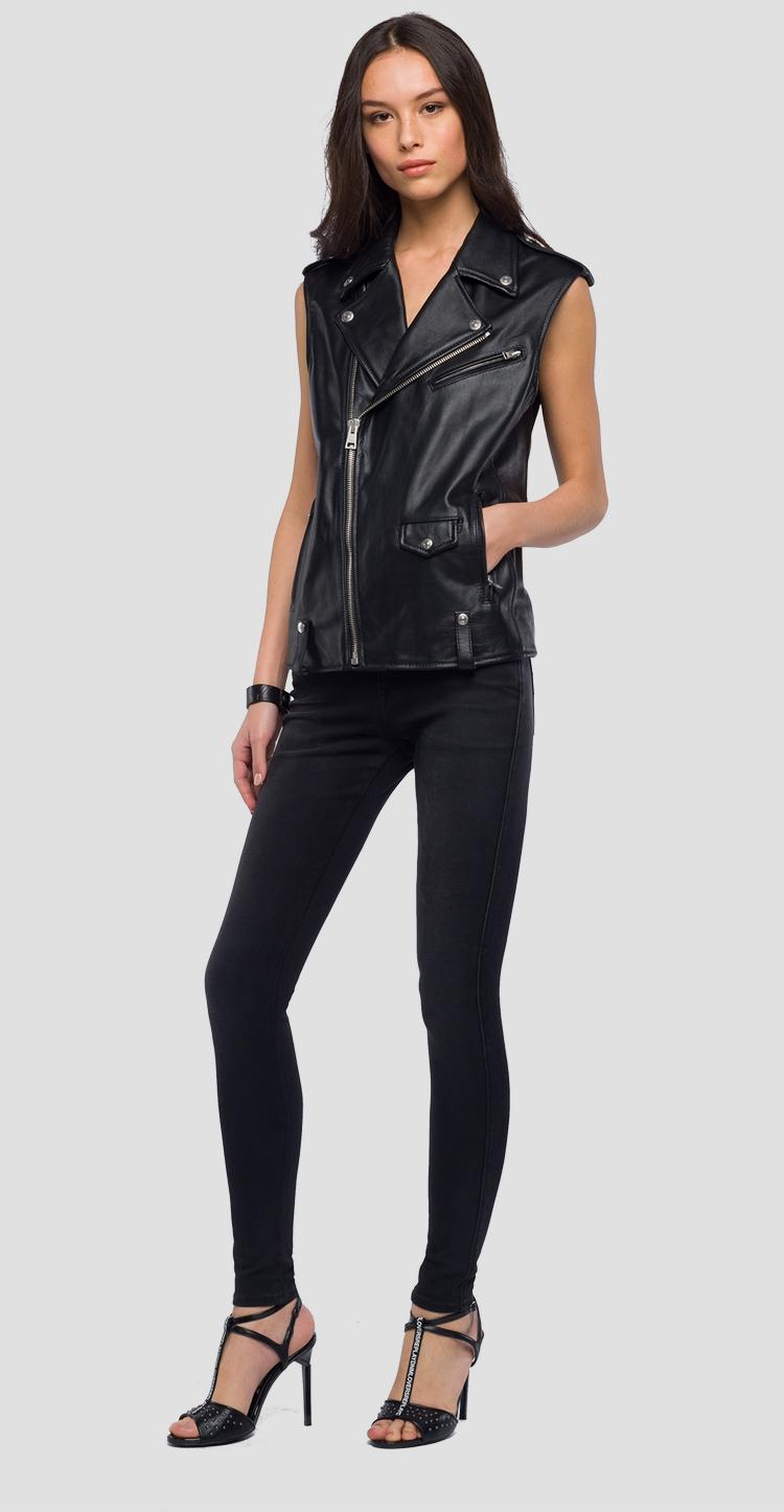 Sleeveless biker jacket in real leather - Replay