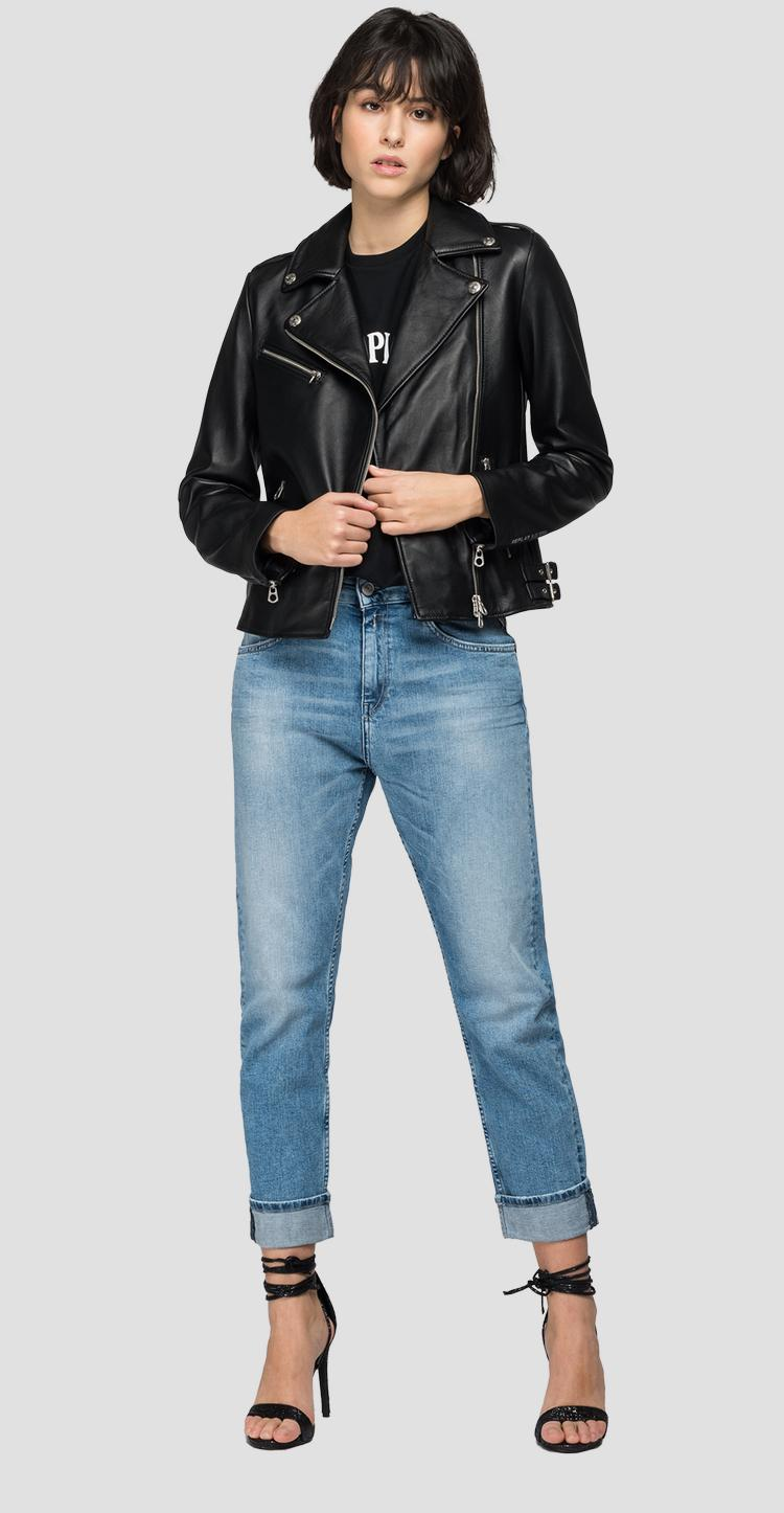 REPLAY BLUE JEANS hammered leather biker jacket w7579 .000.83254s