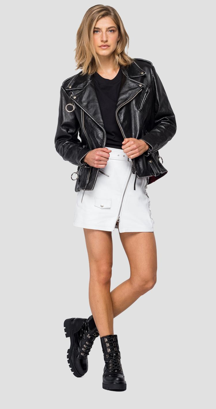 Leather biker jacket with lapels w7589 .000.83976