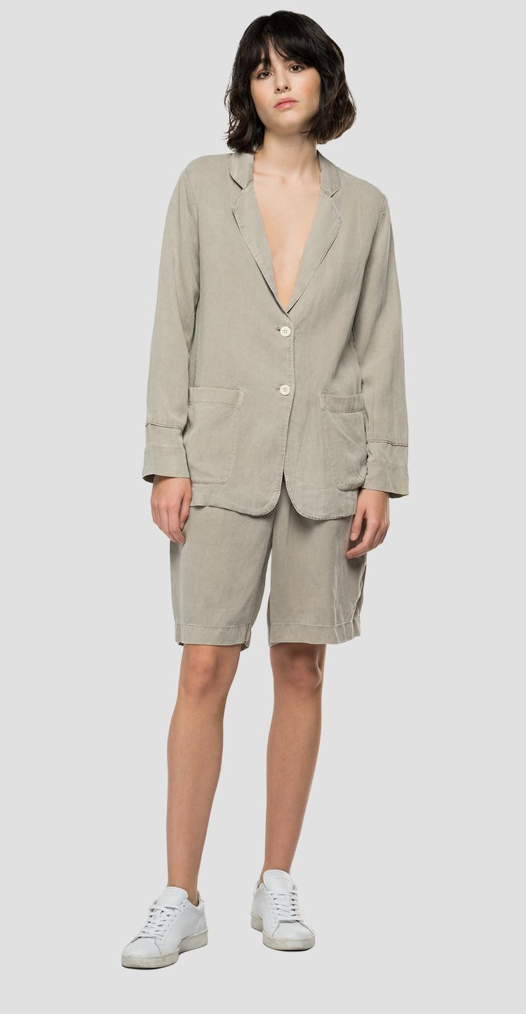 REPLAY Essential jacket in linen and viscose w7658 .000.84059g