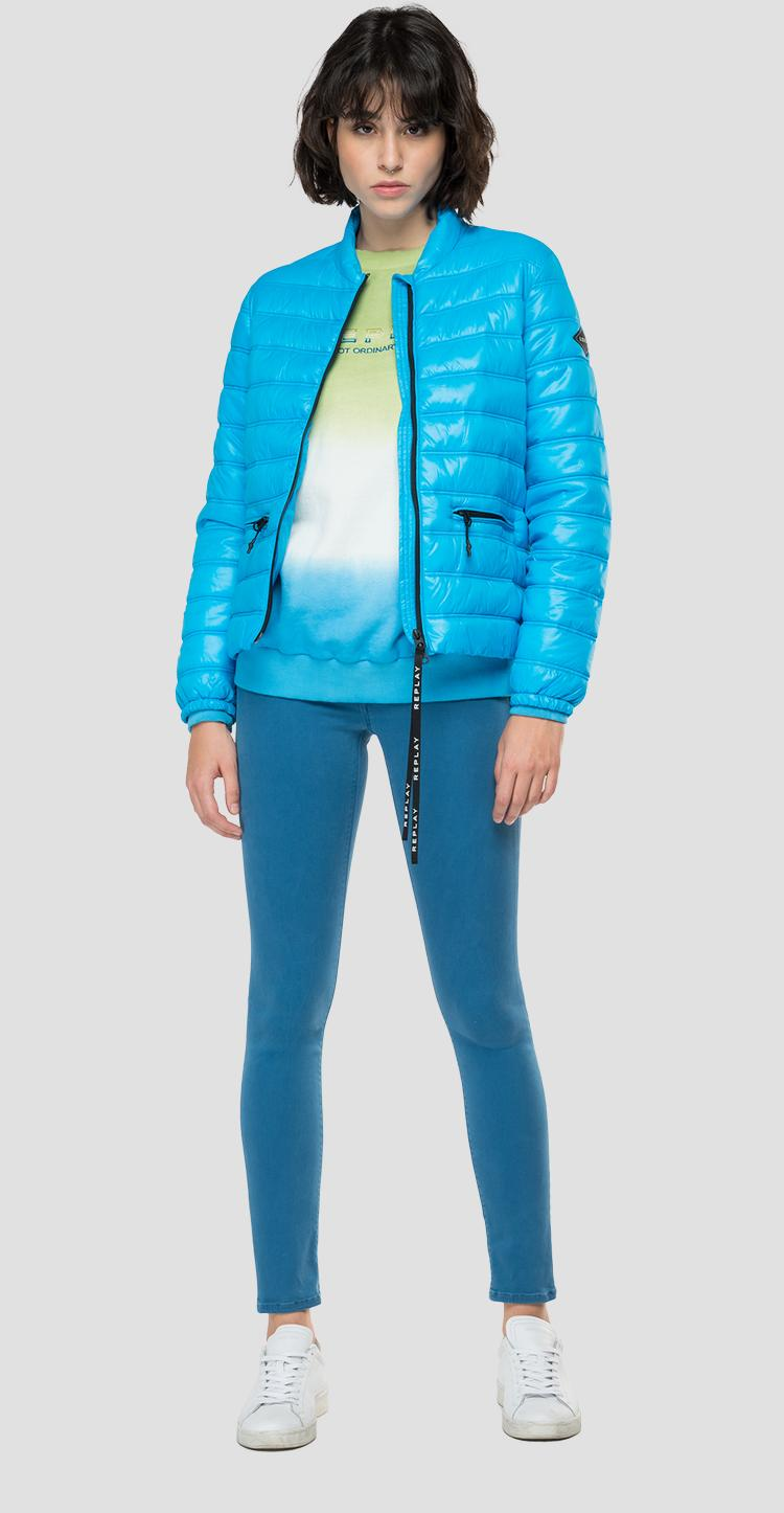 Mid weight recycled nylon jacket with zipper w7666 .000.84166