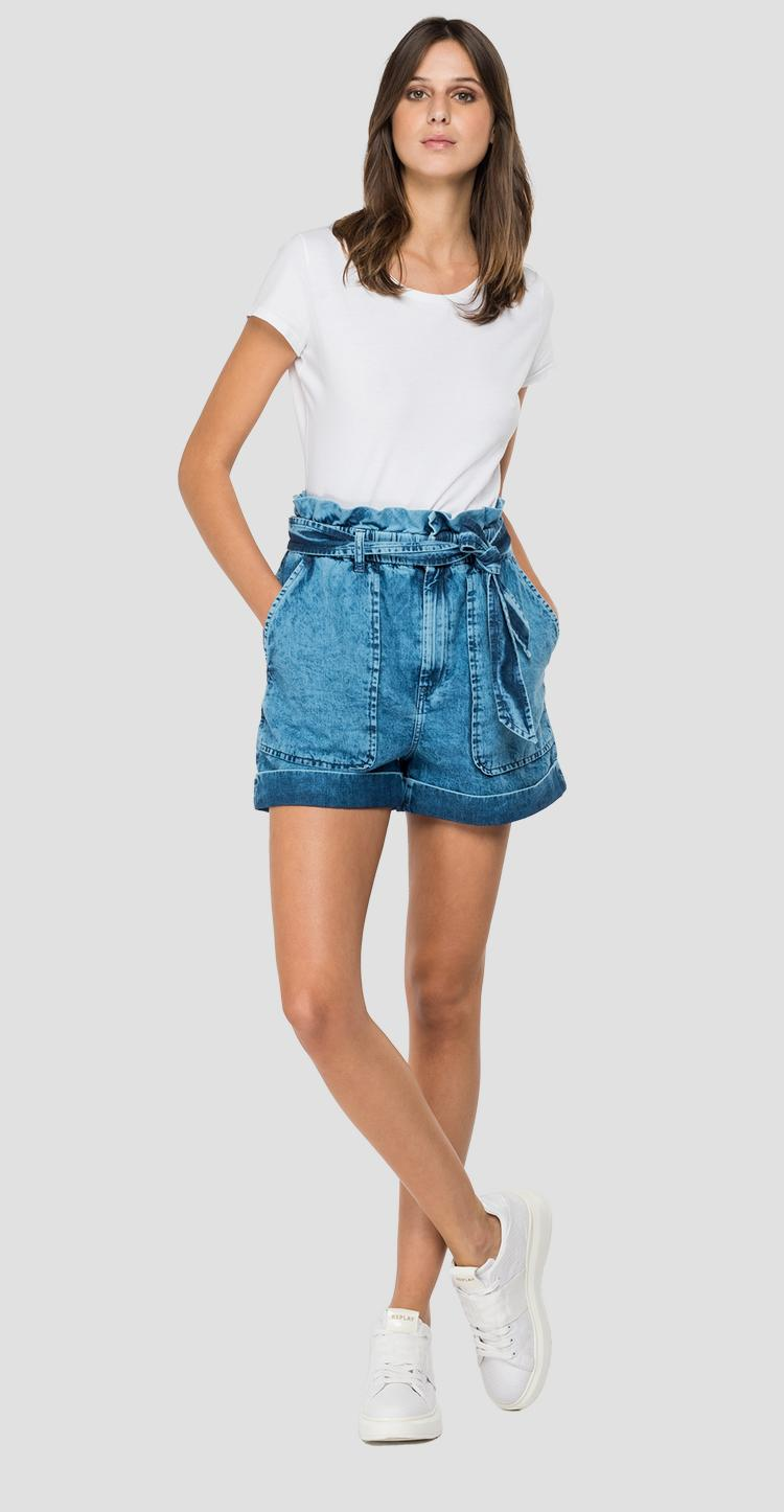 Denim shorts with belt w8517 .000.460 801