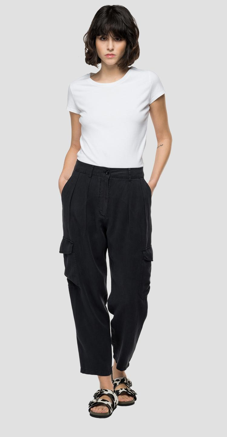 REPLAY Essential trousers in linen and viscose w8524 .000.84059g