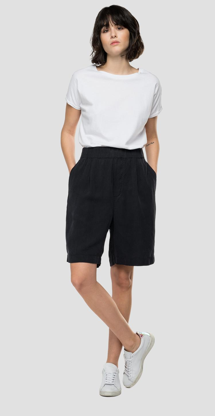 REPLAY Essential bermuda shorts in linen and viscose w8526 .000.84059g