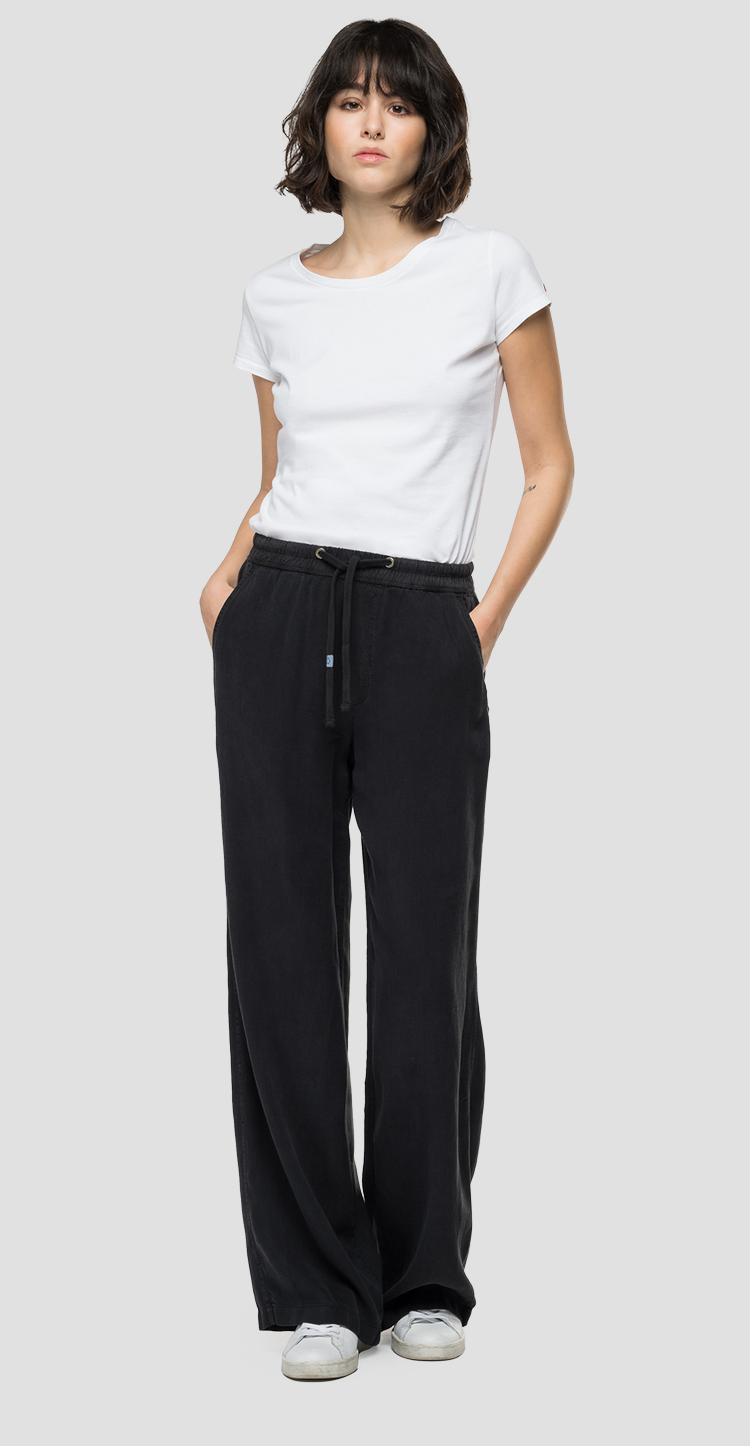 Relaxed Fit REPLAY-Hose aus Leinen und Viskose Essential w8529a.000.84059g