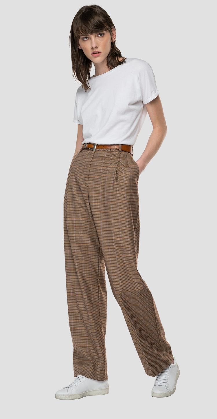 High-waisted straight fit trousers with houndstooth pattern w8545 .000.52439
