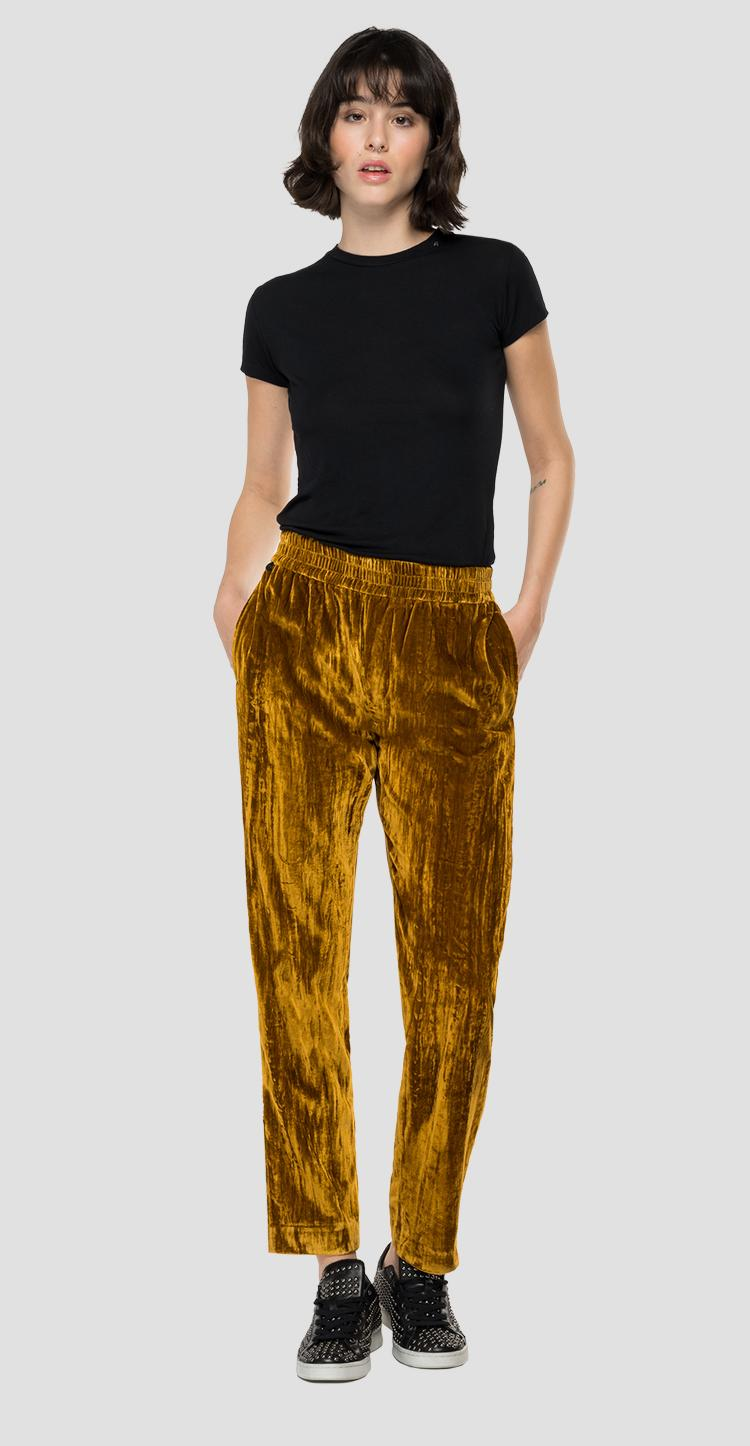 Velvet jogger pants with crinkle effect w8549a.000.84236