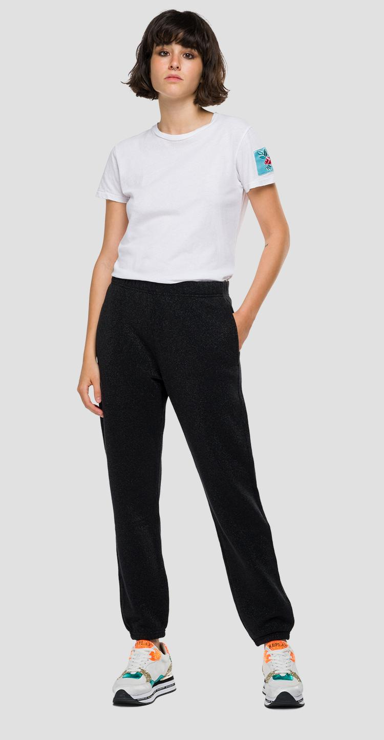 Loose fit REPLAY jogger pants with lurex w8563 .000.22672