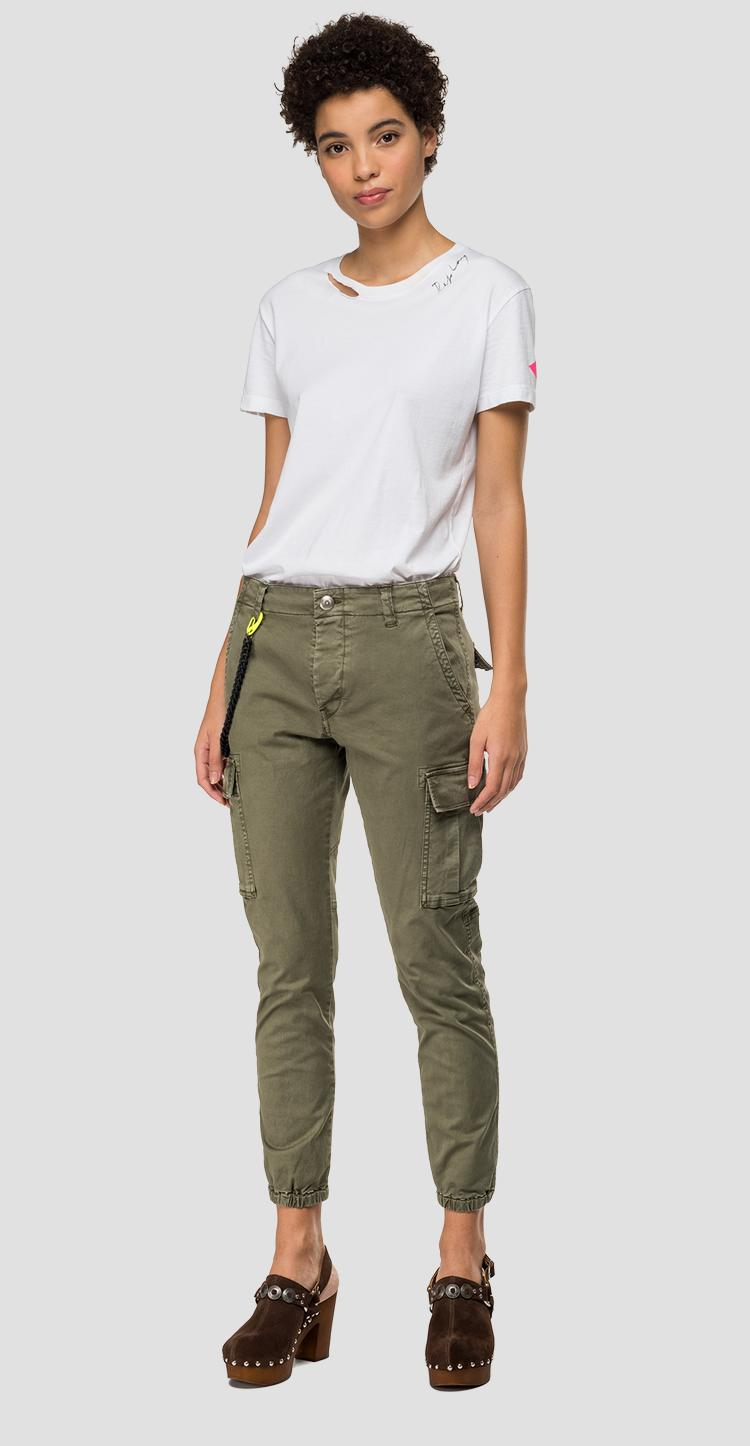 garment dyed cotton cargo trousers - Replay