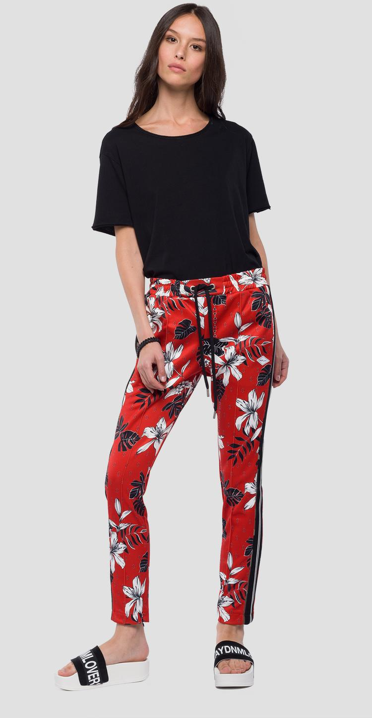Jogging pants with floral print w8798a.000.71766
