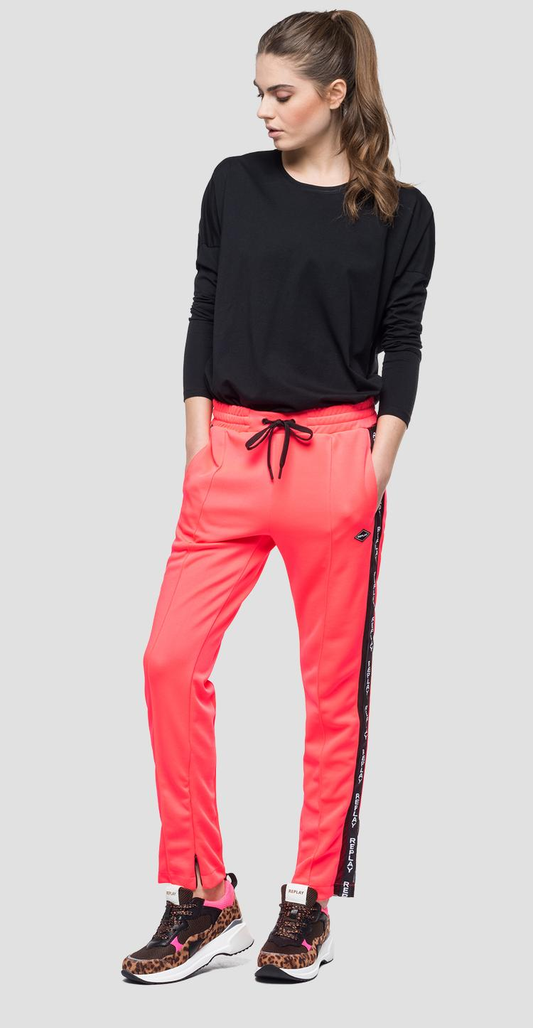 Sporty trousers with side stripes - Replay