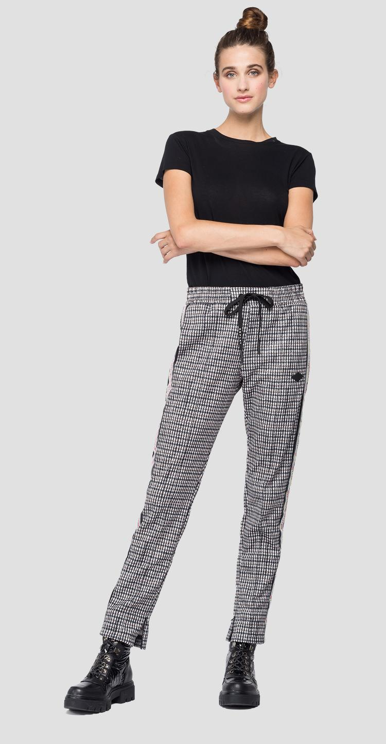 Trousers with all-over houndstooth print w8798d.000.72176