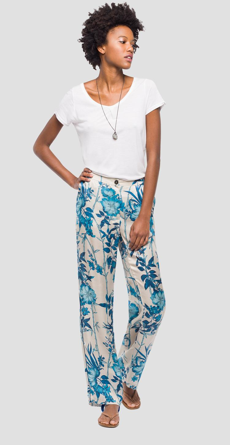 Satin chino trousers with flower print w8828a.000.71714
