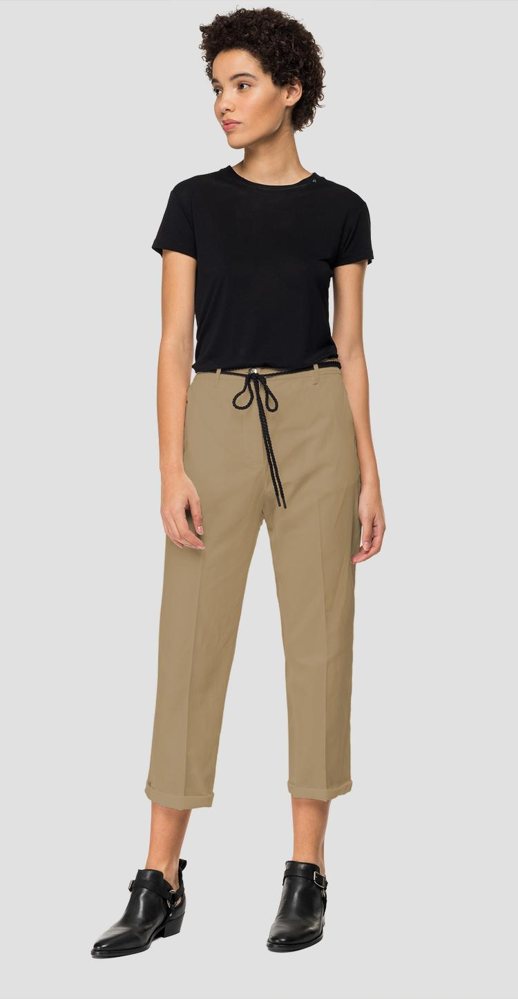 Twill crop trousers w8840a.000.83670g