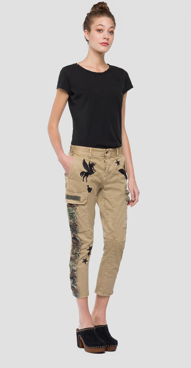 Cargo trousers with butterflies print w8845 .000.80799g