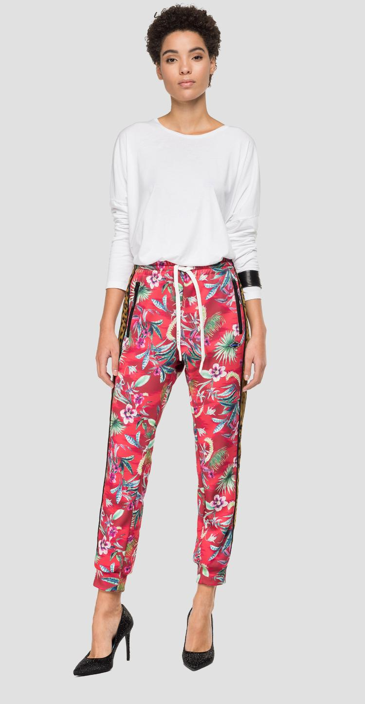 Floral jogger with animalier bands w8870b.000.72044
