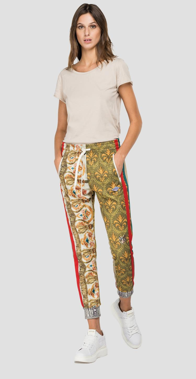 Slim fit trousers with patchwork print w8870g.000.73404