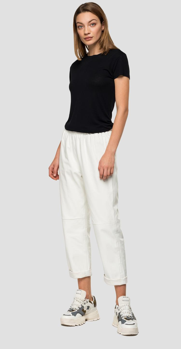 Eco-leather trousers with elasticated waistband w8883a.000.83720