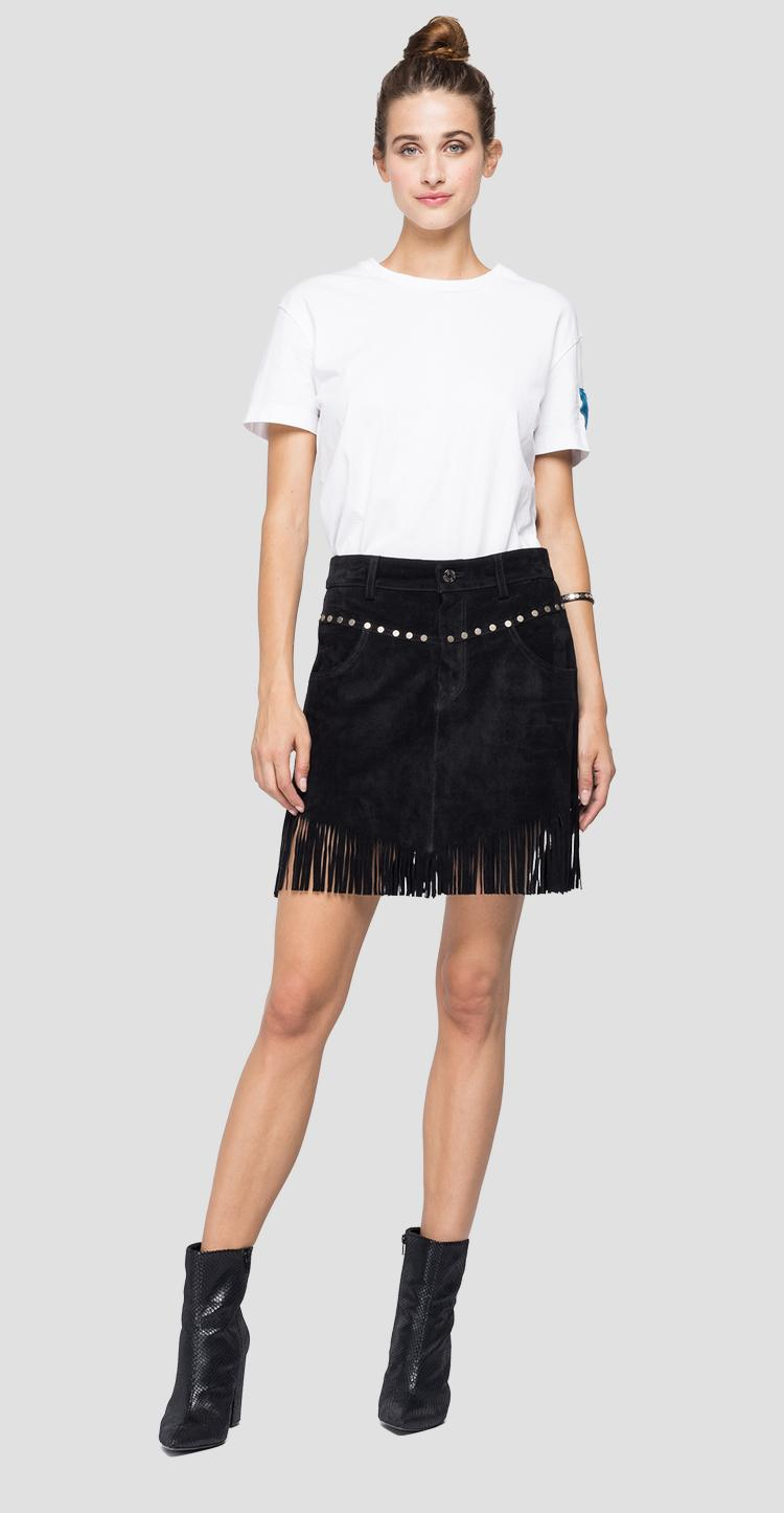 Suede mini skirt with fringes w9275 .000.83988