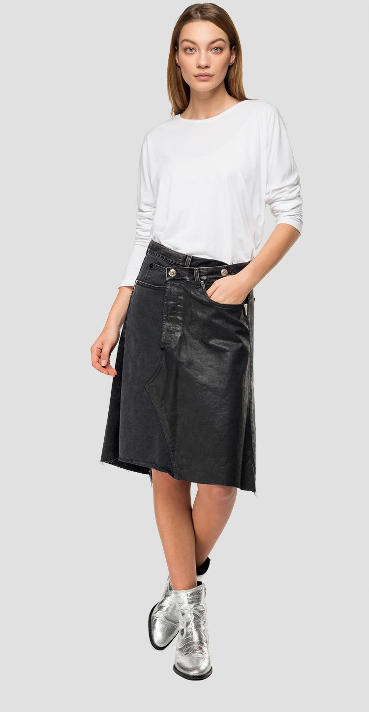 Denim skirt with double button w9308a.000.10264