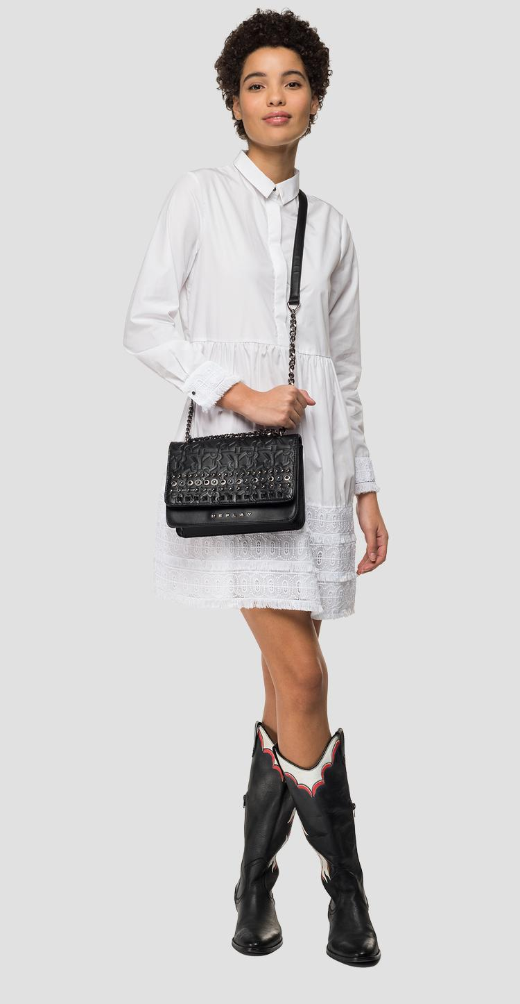Shirt dress with geometric embroideries w9560a.000.83214