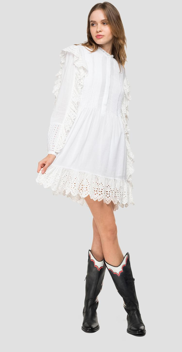 Midi dress with broderie anglaise w9571 .000.83178