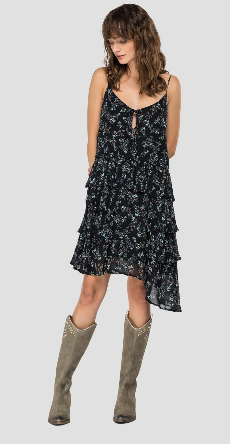 Dress with frills and all-over print w9613a.000.73388