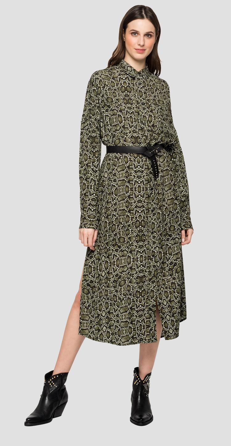 Long dress with all-over python print w9622 .000.72122