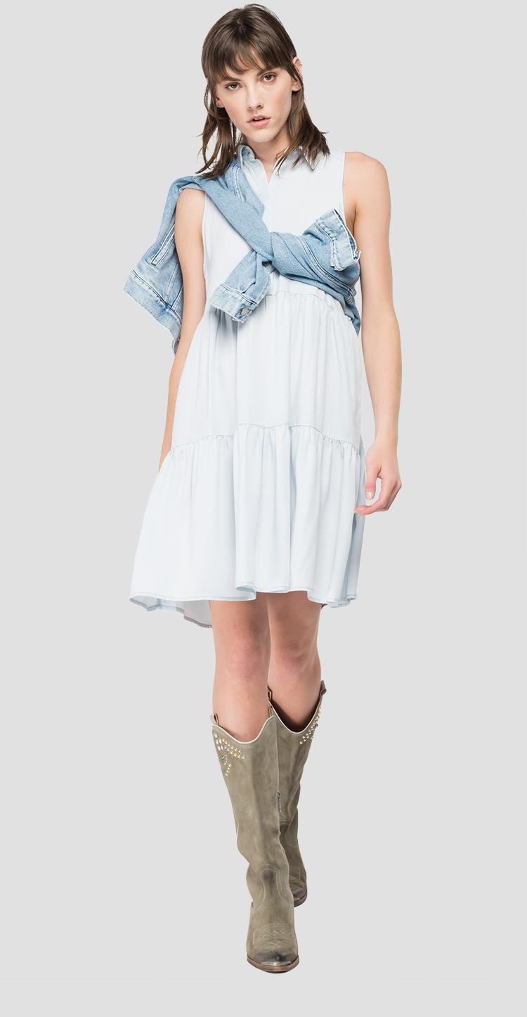 Sleeveless denim dress with frills w9635 .000.54c 89b