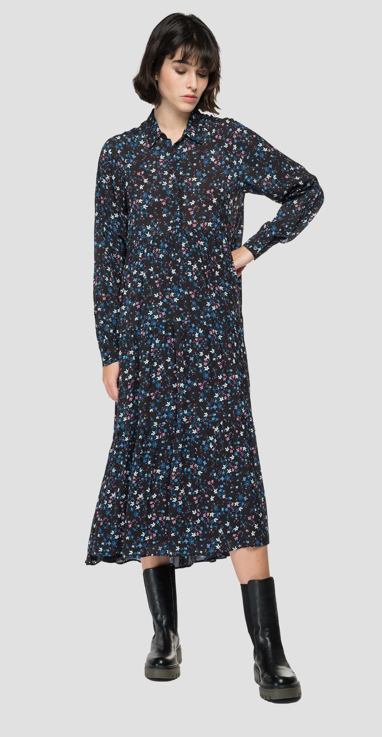 Chiffon dress with all-over print w9652a.000.73504
