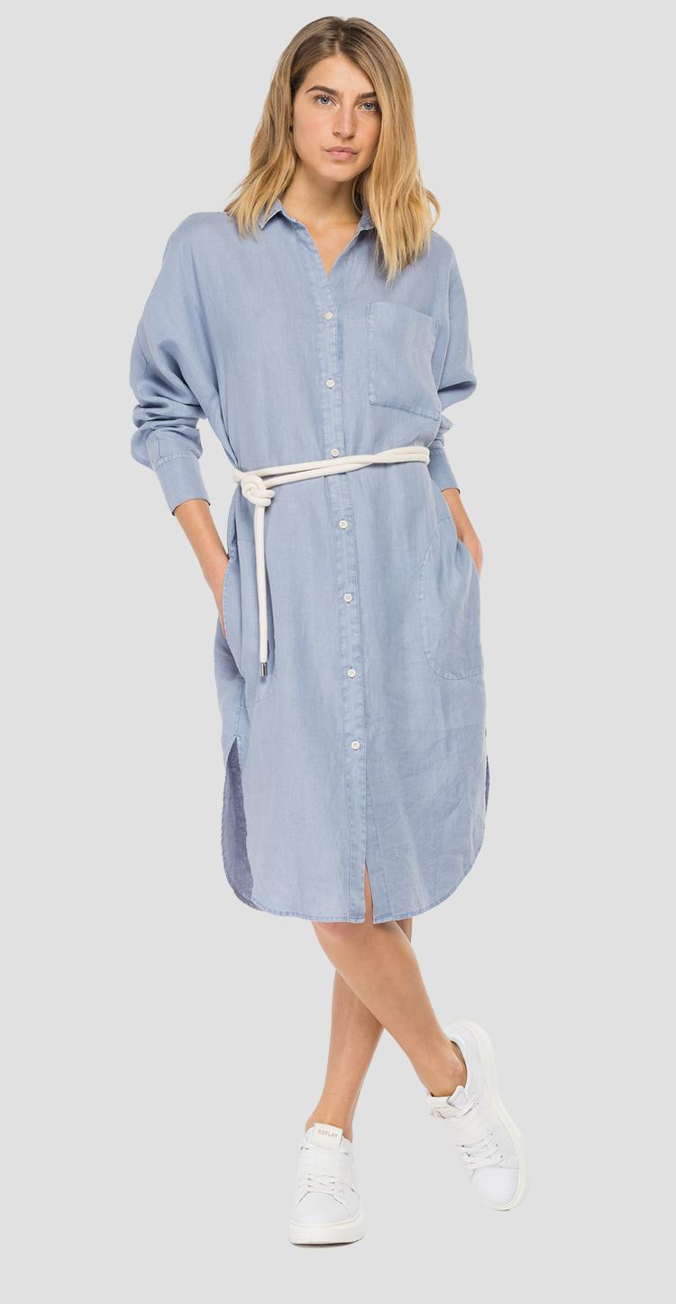 Essential linen dress with pocket w9657 .000.84072g