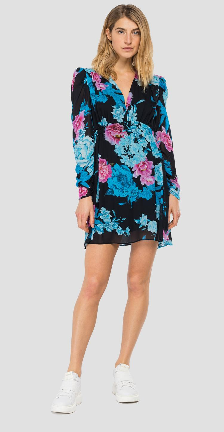 Georgette dress with all-over floral print w9681 .000.73362