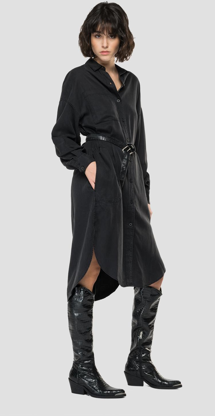 Essential Maxi shirt dress in Lyocell and linen w9702a.000.84078g