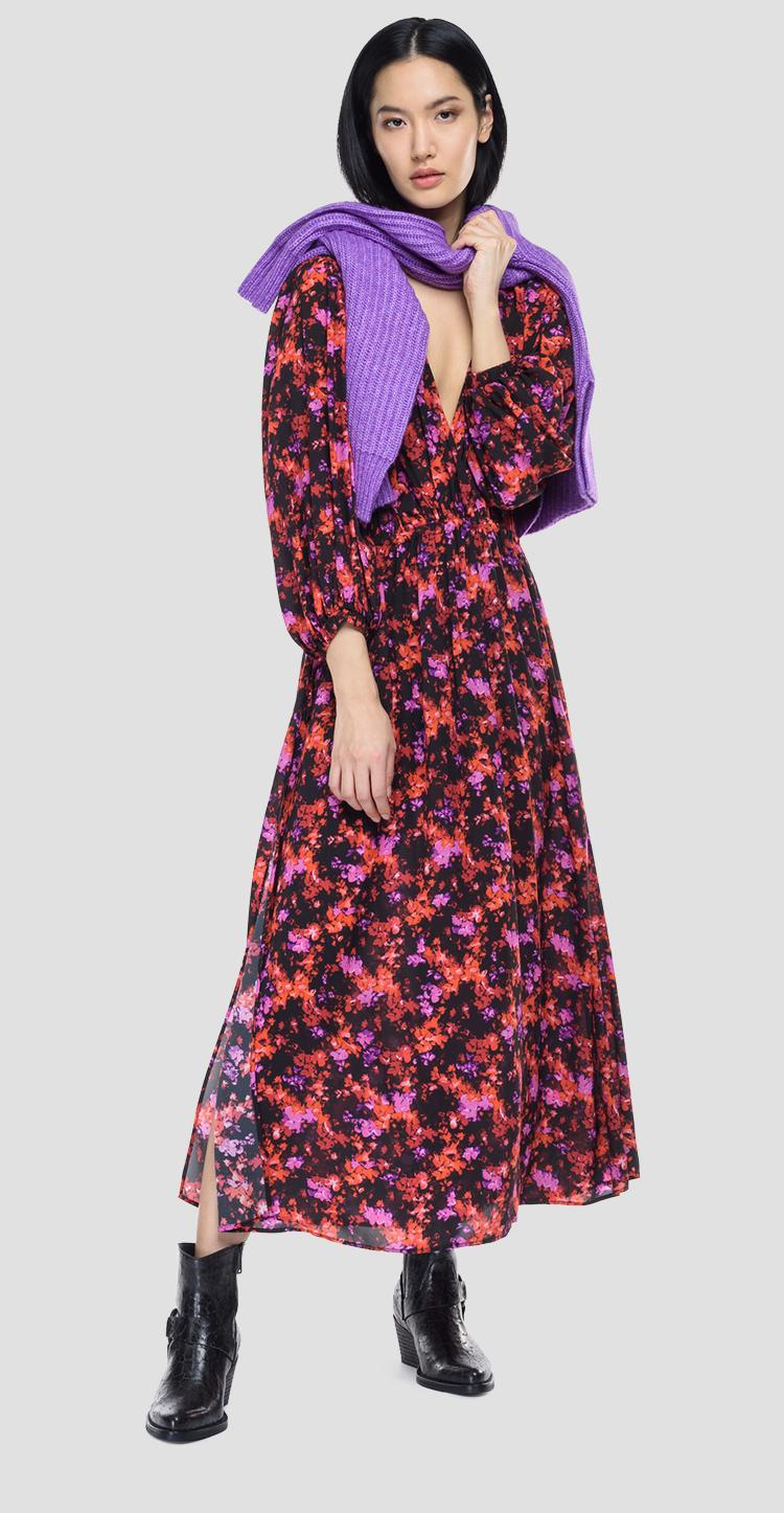 Chiffon dress with all-over floral print w9707 .000.73514
