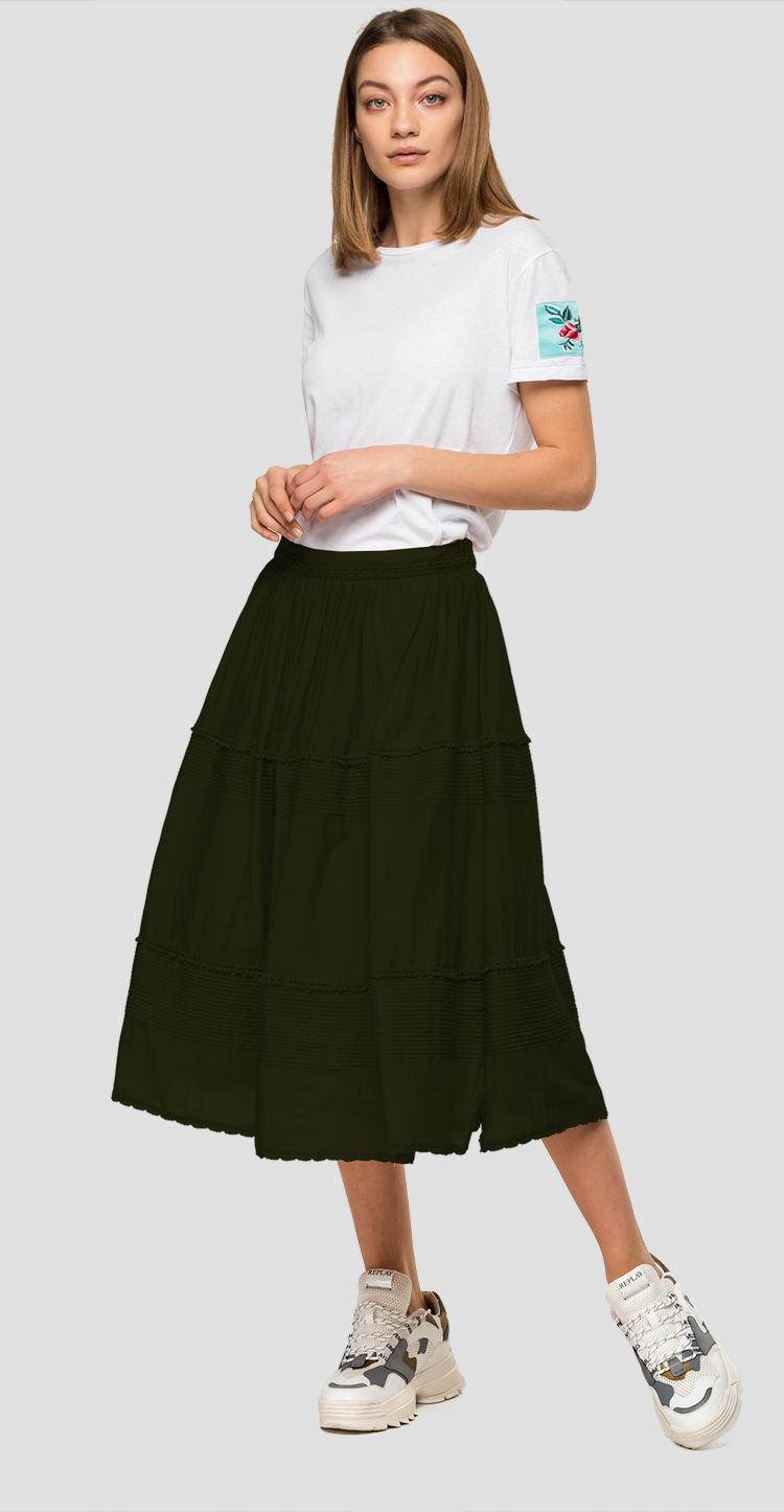Pleated skirt with trimming w9814 .000.83038f