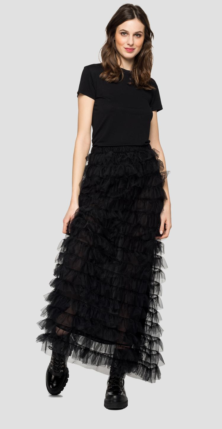 Long frilled skirt in tulle w9824 .000.22878