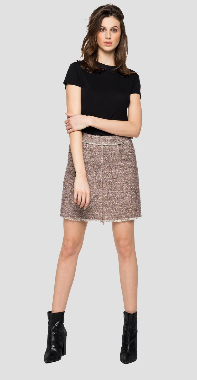 Short skirt with mélange lurex - Replay