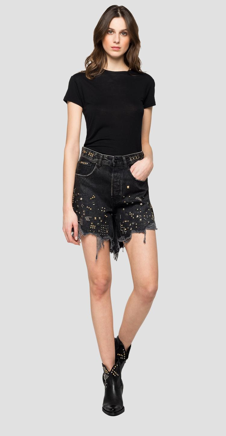 Denim shorts with Rose Label studs wa408b.000.142 719
