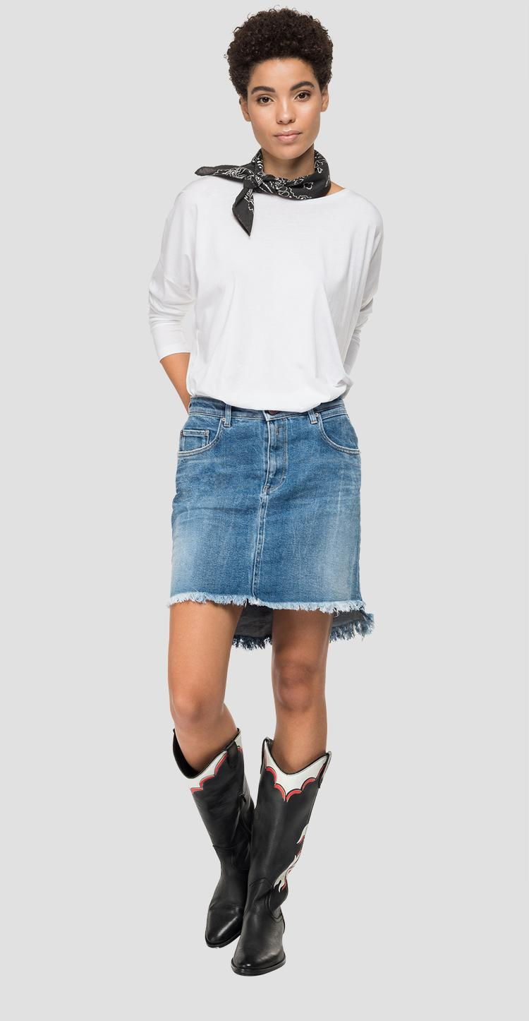 Asymmetric short skirt in denim Rose Label wa9234.000.83cr651