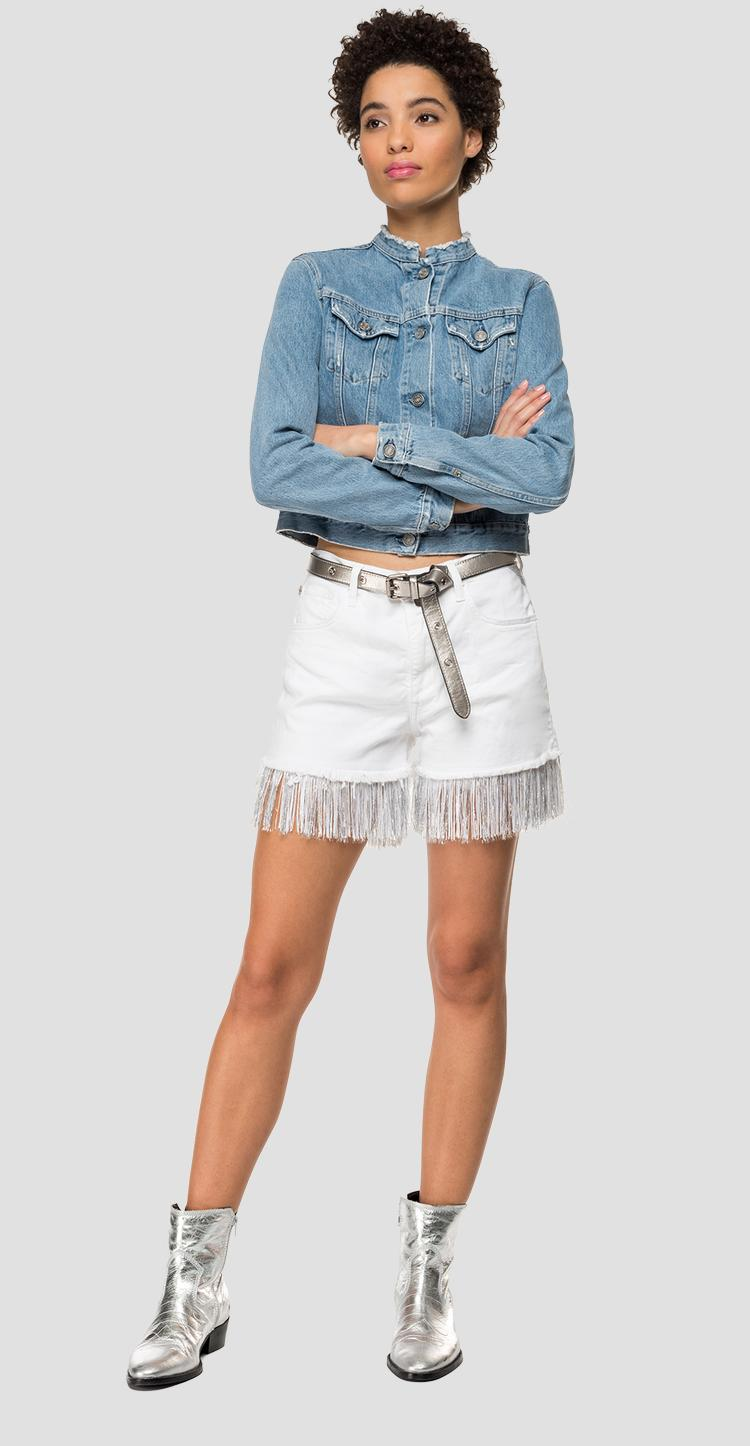 Denim short pants with fringes - Replay