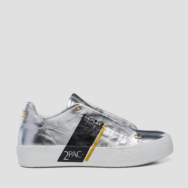 Women's Replay Tribute Tupac leather sneakers wz1fg .134.c0016l